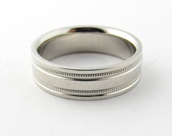 Vintage Platinum Wedding Band Size 8 #2012