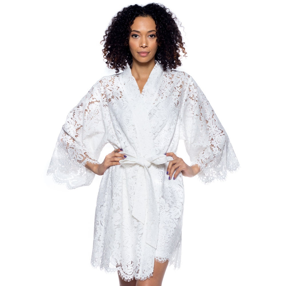 Bridal Robe To Get Ready In: Bridal Lace Robe For Getting Ready / Off White Lace Robe With