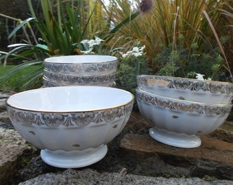 former bowls style coffee with milk, series of 6 - ancient 60s french bowls, complete set of 6 large bowls