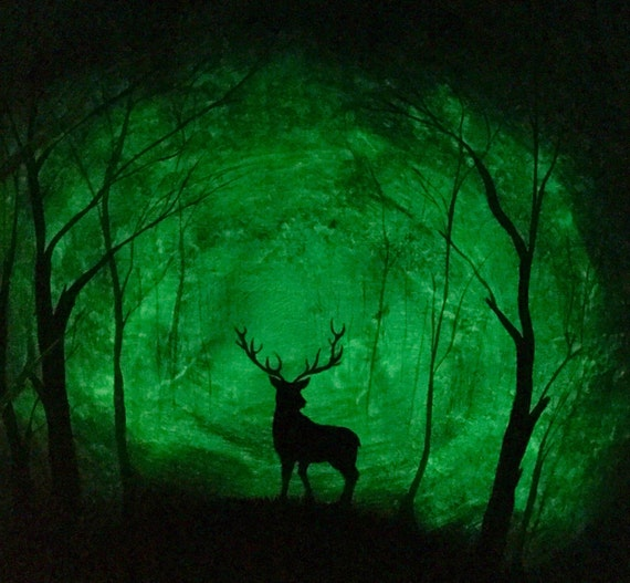 Glow in the dark Art Deer Forest Original painting 2 in 1 Deer