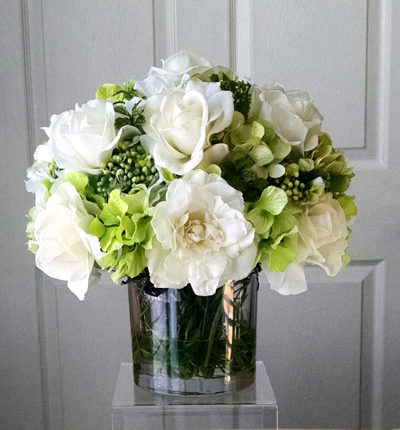 SALE-Real Touch Flowers Centerpiece-Table Centerpiece-Wedding Centerpiece-Silk Flowers in Home Decor-Baby shower centerpiece-White flowers