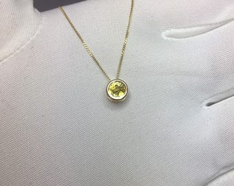 NATURAL Yellow Sapphire Gold Pendant 0.69ct BRAND NEW Necklace Rare Jewellery