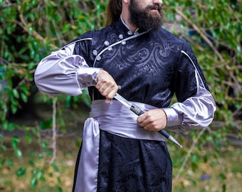Handcrafted Men's Fantasy Costume - Black & Silver
