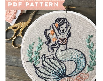 Mermaid PDF Embroidery Pattern. PDF Pattern. DIY Embroidery. Nautical Hand Embroidery. Gift for Crafters. Modern Embroidery. Under the Sea