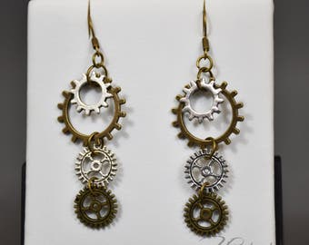 Handmade copper steampunk earrings with gears - Cecilia