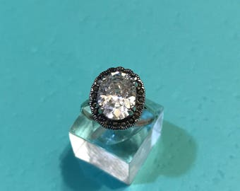 Size 7, vintage Sterling silver engagement ring, solid 925 silver with Swarovski crystal, stamped 925 Thai