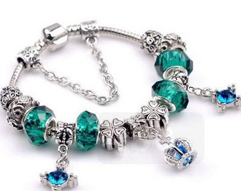 pandora style bracelets Pandora style European charm bracelet silver plated with the green beads blue crown theme Love Charm pandora beads