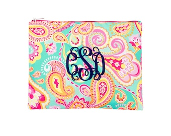 Summer Paisley Zip Pouch /Accessory Bag / Cosmetic Bag