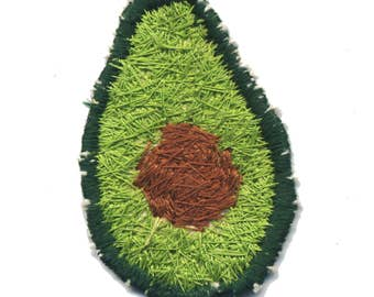 Handmade Green Avocado Patch With Brown Pit