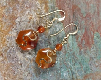 Carnelian and gold filled earrings