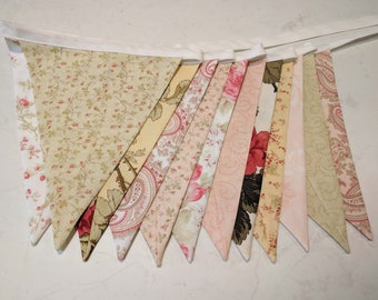 Fabric Bunting,Shabby Chic themed Wedding Banner, Baby Shower Flag Garland,  Double Sided Flags 3 Sisters Favourites