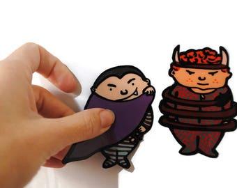 Tiny Dracula - Small Devil - Halloween Souvenirs - Fridge Magnet Decor - Locker Decorations - Cute Magnets - Handmade -  Magnets set