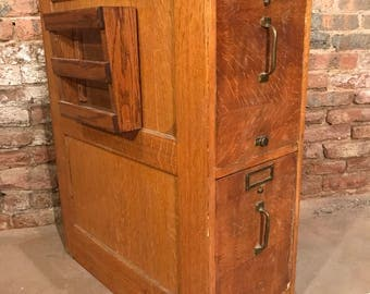 Ca. 1912 Oak Two-Drawer Filing Cabinet Antique Office Filer