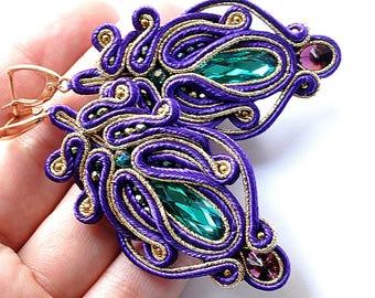 Сутаж Серьги Разноцветные Фиолетовые Сутажные серьги Soutache jewelry Colorful soutache earrings Statement earrings Valentine's day gift