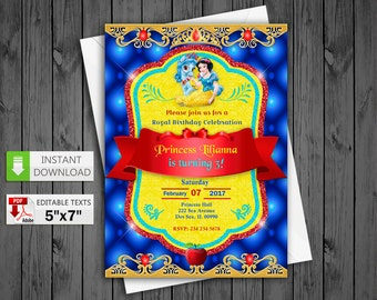 Printable invitation Princess Snow White party in PDF with Editable Texts, Princess Snow White Invitation, edit and print yourself!
