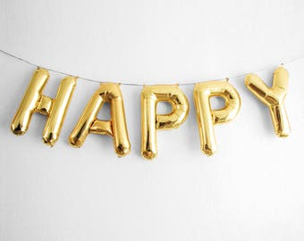 "HAPPY Letter Balloons | 16"" Gold Letter Balloons 