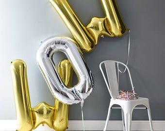 "WOW Letter Balloons | 40"" Gold + Silver Letter Balloons 
