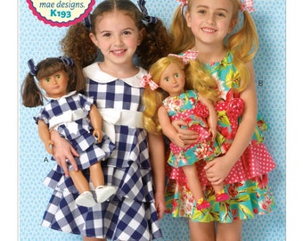 """Sewing Pattern for Girls'/18"""" Dolls' Matching Dresses, Kwik Sew Pattern 0193, Matching Girl & 18 in Doll Dresses, Pretty Tiered Party Dress"""