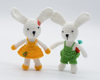 Easter bunny decor, miniature rabbits, bunnies couple, small bunny toys, yellow and green, bunny gift, plush toys gift