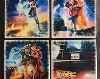 Back to the Future Movie Poster Stone Coaster Set, Handmade, Marty McFly, 80s Party, Classic Movies