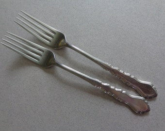Lyon Americana Vintage Stainless 2 Dinner Forks IS International Silver