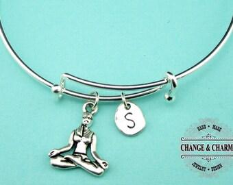 Yoga Bangle, Yoga Bracelet, Yoga Charm, Yoga, Yoga Instructor Gift, Charm Bracelet, Initial Charm, Silver Plated, Personalized Bangle,CSP008