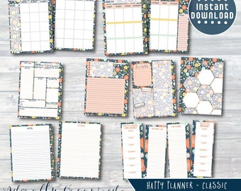 HAPPY PLANNER PRINTABLE Planner Bundle / Inserts - 7 x 9.25 | Navy Blooms | Create 365 | mambi | Monthly, Weekly, Daily | Refills | Bundle