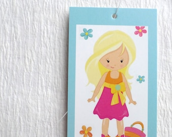 100 PRICE TAGS HANG Tags Retail Tags Boutique Tags Cute Girl in Summer Dress Clothing Tags With 100 Plastic Loops