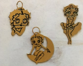 14 Karat Gold Collectors set 3 pieces of Betty Boop Charms, Swinging on the Moon, So Sweet and Some Like it Hot series made in the 1980's