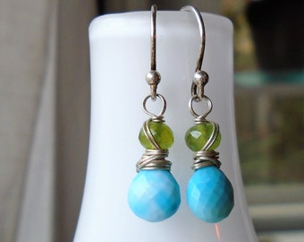 Turquoise and Peridot Silver Earrings