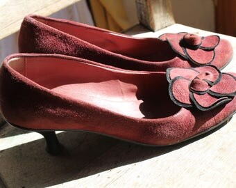 Sale Suede leather pumps, matt wine red: so sweet