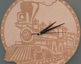 Kids Wooden Train Clock Personalized Nursery Decor