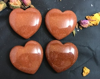 Goldstone Puffy Heart-Polished, Man Made