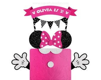 Minnie Mouse Cake Topper - Minnie Cake Topper - Minnie Cake - Personalized with your Name and age