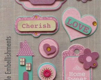 HOME SWEET HOME - 3D Hard Paper Stickers - Set 9pcs - Handmade Embellishments - Rosie's Studio - for Card Making Scrapbooking Decoration