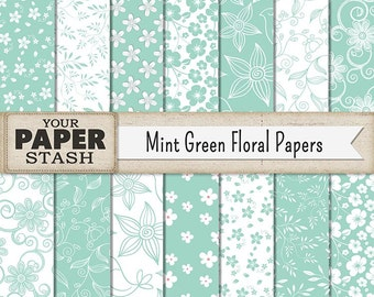 Mint Green Digital Paper, Mint Green, Floral, Scrapbook Paper, Digital Paper Pack, Mint Green Flower, Commrecial Use, Instant Download Print