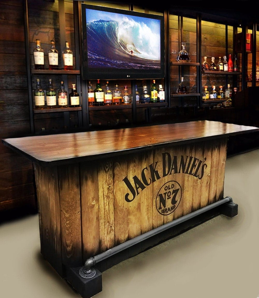40 Cool Rustic Bar Design: Home Bar Custom Hand Built Rustic Whiskey Pub Man Cave Barn