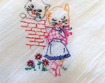 Flour Sack Dish Towel Cowboy Kitty Couple