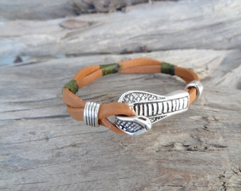 EXPRESS SHIPPING,Men's Ginger Leather Bracelet,Braided Bracelet,Cobra Bracelet,Leather Jewelry,Men's Cuff Bracelet,Gift for Him,Father's Day