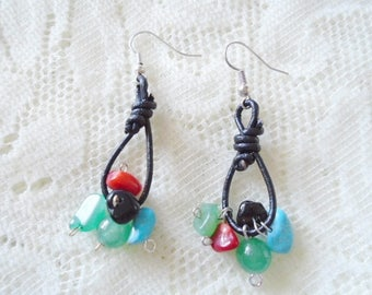 Leather & Gemstone earring, Leather dangle earring
