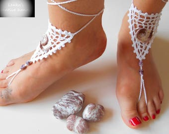 Beaded barefoot sandals with crochet applique-NEW for 2017, Beach barefoot sandals, Foot jewellery, Beach shoes, Ready to ship, Gift for her