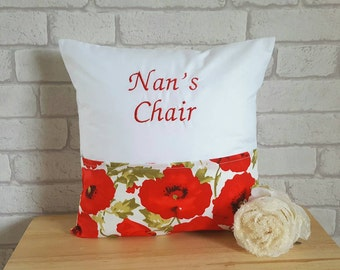 Personalized Poppy Cushion~Personalised Cushion for Nan~Pocket Cushion for Nan~Poppy Decor~Poppy Cushion~Poppy Pillow~Reading Pillow~Poppies