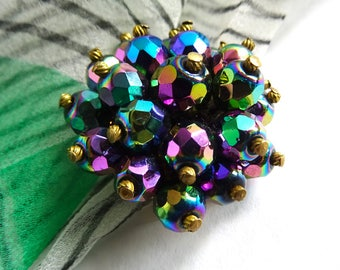 Kitsch Carnival Glass Beads Cluster Brooch, Aurora Borealis, Glass Cluster Brooch, 50s 60s