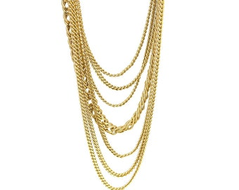 Vintage 1980s Multistrand Chain Necklace   Monet Necklace   Gold Necklace   Statement Necklace   1980s Necklace   Vintage Necklace