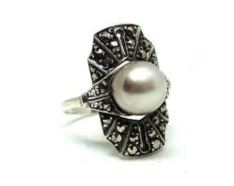 Vintage Art Deco Ring | Ring Size 6.5 | Marcasite Ring | Geometric Ring | Silver Ring | Faux Pearl Ring | Statement Ring | 1920s Ring