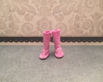 Blythe Doll boots - ugg style boot - longer length - dark pink
