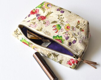 Makeup Bag, Cosmetic Bag, Makeup Pouch, Zipper Pouch ~ Vintage Lotus