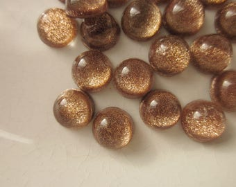 24 Vintage Cabochons, Golden Brown Glitter Glass with AB Finish, 7mm Round