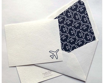 Airplane Notecards - Traveler Stationery - Pilot Gift - Navy and White Airplanes