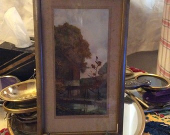 Framed vintage water color of a mill or barn by water, painting, vintage painting,